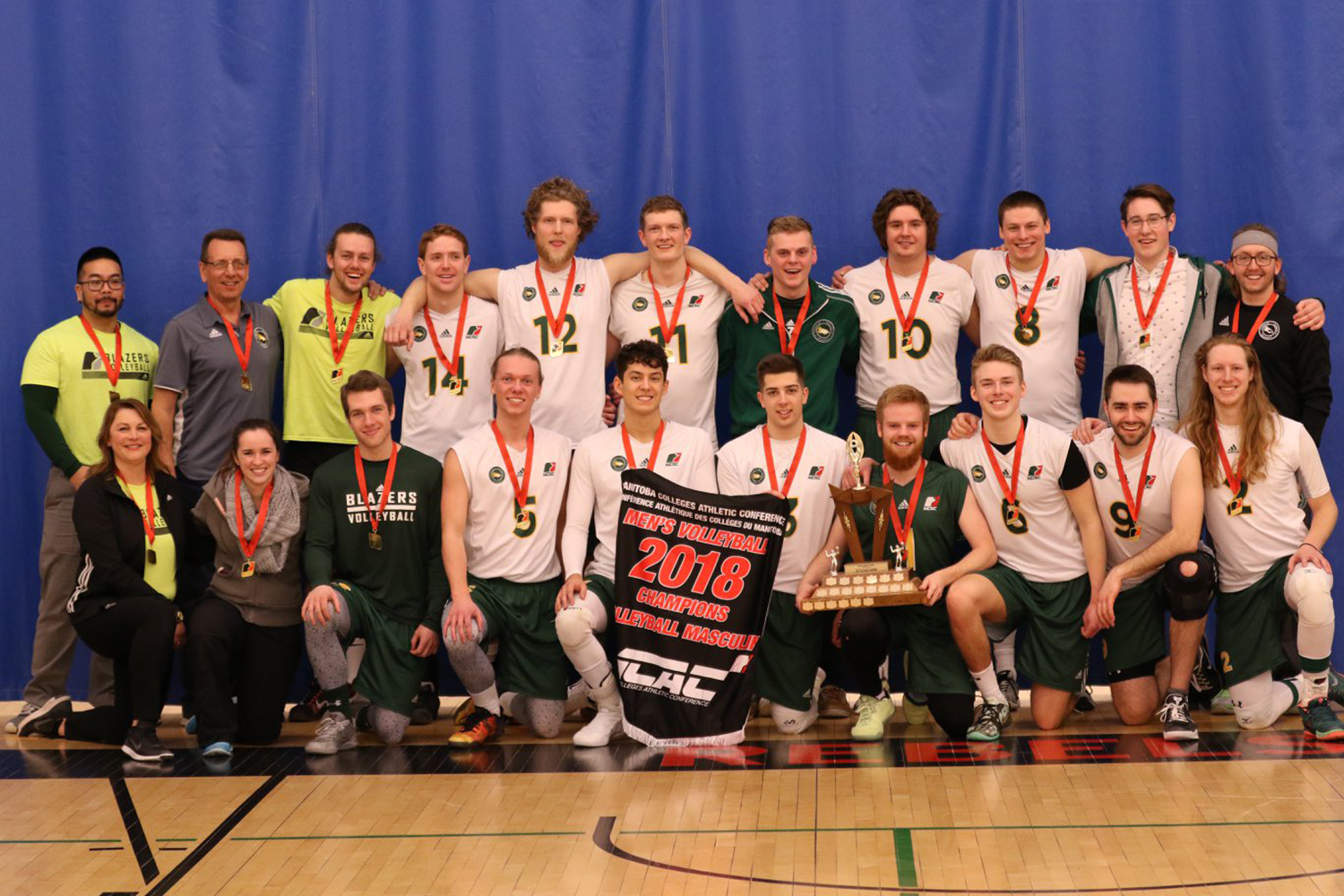 Jason Friesen - The courage to be vulnerable (The CMU mens volleyball team line up for a team photo after winning the MCAC championships for the second year in a row.)