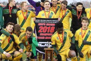 CMU BLazers Soccer Team with MCAC trophey
