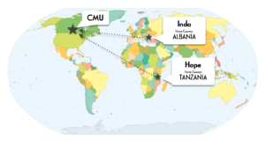Map of Inda and Hope's countries
